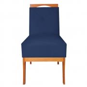 Cadeira Estofada Antonela Sala de Jantar Sala Estar Recepção Escritório Salão D'classe Decor Suede Azul Marinho