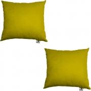 Kit 02 Capas De Almofadas Decorativa Suede Amarelo D04 - D´Classe Decor