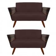Kit 2 Namoradeira Chanel Decoração Pé Palito Cadeira Escritório Clinica Jantar Sala D'Classe Decor Suede Marrom
