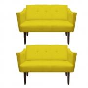 Kit 02 Namoradeiras Naty Decorativa Sala de Estar Recepção Pé Palito Suede Amarelo D04 - D´Classe Decor
