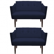 Kit 02 Namoradeiras Naty Decorativa Sala de Estar Recepção Pé Palito Suede Azul Marinho D02 - D´Classe Decor