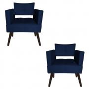 Kit 02 Poltrona Jollie Decoração Pé Palito Luxo Cadeira Sala  Escritório Recepção Suede Azul Marinho
