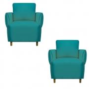 Kit 02 Poltrona Nicolle Decoração Clinica Escritório Recepção Sala Quarto Salão Suede Azul Tiffany