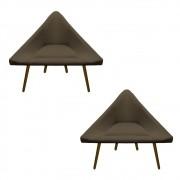 Kit 2 Poltrona Ibiza Triângulo Decoração Sala Clinica Recepção Escritório Quarto Cadeira D'Classe Decor Suede Marrom Rato