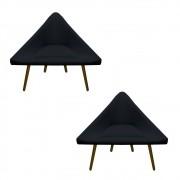Kit 2 Poltrona Ibiza Triângulo Decoração Sala Clinica Recepção Escritório Quarto Cadeira D'Classe Decor Suede Preto