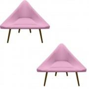Kit 2 Poltrona Ibiza Triângulo Decoração Sala Clinica Recepção Escritório Quarto Cadeira D'Classe Decor Suede Rosa Bebê