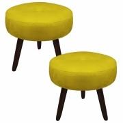 Kit 02 Puffs Duda Decorativa Sala de Estar Recepção Pé Palito Suede Amarelo D04 - D´Classe Decor