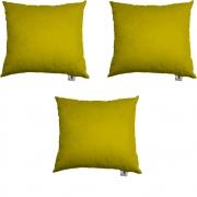 Kit 03 Capas De Almofadas Decorativa Suede Amarelo D04 - D´Classe Decor