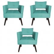 Kit 03 Poltrona Jollie Decoração Pé Palito Luxo Cadeira Sala Estar Escritório Recepção D'Classe Decor Suede Azul Tiffany
