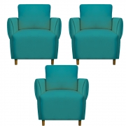 Kit 03 Poltrona Nicolle Decoração Clinica Escritório Recepção Sala Estar Quarto Salão D'Classe Decor Suede Azul Tiffany