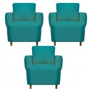 Kit 03 Poltrona Nicolle Decoração Clinica Escritório Recepção Sala Quarto Salão Suede Azul Tiffany