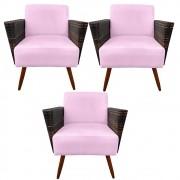 Kit 3 Poltrona Chanel Decoração Pé Palito Cadeira Escritório Clinica Jantar Sala Estar D'Classe Decor Suede Rosa Bebê