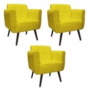 Kit 03 Poltronas Duda Decorativa Sala de Estar Recepção Pé Palito Suede Amarelo D04 - D´Classe Decor