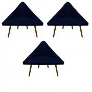 Kit 3 Poltrona Ibiza Triângulo Decoração Sala Clinica Recepção Escritório Quarto Cadeira D'Classe Decor Suede Azul Marinho