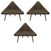 Kit 3 Poltrona Ibiza Triângulo Decoração Sala Clinica Recepção Escritório Quarto Cadeira D'Classe Decor Suede Marrom Rato
