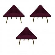 Kit 3 Poltrona Ibiza Triângulo Decoração Sala Clinica Recepção Escritório Quarto Cadeira D'Classe Decor Suede Marsala