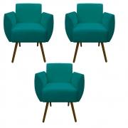 Kit 3 Poltrona Kelly Decoração Clinica Escritório Recepção Sala Estar Quarto Salão D'Classe Decor Suede Azul Tiffany