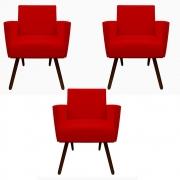 Kit 3 Poltronas Nina Decoração Sala Estar Clinica Recepção Escritório Quarto Cadeira D'Classe Decor Suede Vermelho