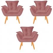 Kit 03 Poltronas Opala Decorativa Sala de Estar Recepção Pé Palito Veludo Rose C22 - D´Classe Decor