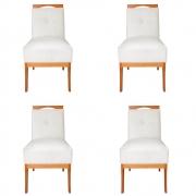 Kit 04 Cadeira Estofada Antonela Sala de Jantar Sala Estar Recepção Escritório Salão D'classe Decor Suede Bege