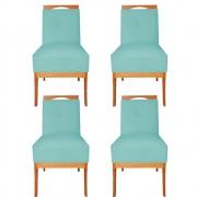 Kit 04 Cadeira Estofada Antonela Sala de Jantar Sala Estar Recepção Escritório Salão D'classe Decor Suede Azul Tiffany