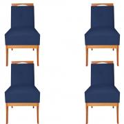 Kit 04 Cadeira Estofada Antonela Sala de Jantar Sala Estar Recepção Escritório Salão D'classe Decor Suede Azul Marinho