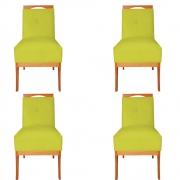 Kit 04 Cadeira Estofada Antonela Sala de Jantar Sala Estar Recepção Escritório Salão D'classe Decor Suede Amarelo