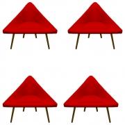 Kit 04 Poltrona Ibiza Triângulo Decoração Sala Clinica Recepção Escritório Quarto Cadeira D'Classe Decor Suede Vermelho