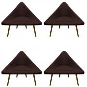 Kit 04 Poltrona Ibiza Triângulo Decoração Sala Clinica Recepção Escritório Quarto Cadeira D'Classe Decor Suede Marrom