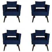 Kit 04 Poltrona Jollie Decoração Pé Palito Luxo Cadeira Sala Escritório Recepção Suede Azul Marinho
