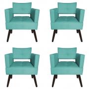 Kit 04 Poltrona Jollie Decoração Pé Palito Luxo Cadeira Sala Estar Escritório Recepção D'Classe Decor Suede Azul Tiffany