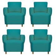 Kit 04 Poltrona Nicolle Decoração Clinica Escritório Recepção Sala Estar Quarto Salão D'Classe Decor Suede Azul Tiffany