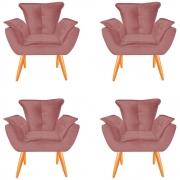 Kit 04 Poltrona Opala Decoração Luxo Pé Palito Sala Estar Escritório Recepção Clinica D'Classe Decor Veludo Rosê