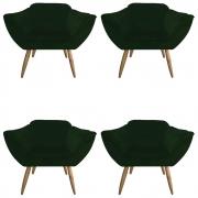 kit 04 Poltrona Vitória Decoração Luxo Pé Palito Sala Estar Escritório Recepção Clinica D'Classe Decor Veludo Verde