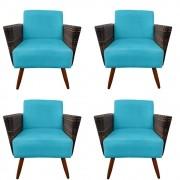 Kit 4 Poltrona Chanel Decoração Pé Palito Cadeira Escritório Clinica Jantar Sala Estar D'Classe Decor Suede Azul Tiffany