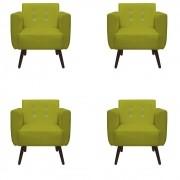 Kit 04 Poltronas Duda Decorativa Sala Recepção Pé Palito Strass Suede Amarelo D04 - D´Classe Decor