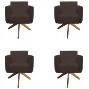 Kit 04 Poltronas Duda Giratória Sala de Estar Recepção Suede Marrom D08 - D´Classe Decor