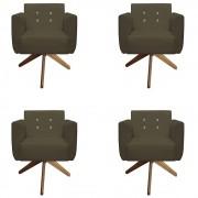 Kit 04 Poltronas Duda Giratória Strass Sala de Estar Recepção Suede Marrom Rato D10 - D´Classe Decor