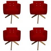 Kit 04 Poltronas Duda Giratória Strass Sala de Estar Recepção Suede Vermelho D09 - D´Classe Decor