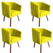 Kit 4 Poltrona Julia Decoração Salão Cadeira Escritório Recepção Sala Estar Amamentação D'Classe Decor Suede Amarelo
