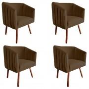 Kit 4 Poltrona Julia Decoração Salão Cadeira Escritório Recepção Sala Estar Amamentação D'Classe Decor Suede Marrom