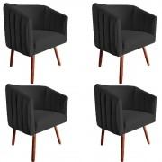 Kit 4 Poltrona Julia Decoração Salão Cadeira Escritório Recepção Sala Estar Amamentação D'Classe Decor Suede Preto