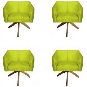 Kit 4 Poltrona Julia Decoração Base Giratória Salão Clinica Cadeira Escritório Recepção D'Classe Decor Suede Amarelo