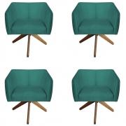 Kit 4 Poltrona Julia Decoração Base Giratória Salão Clinica Cadeira Escritório Recepção D'Classe Decor Suede Tiffany