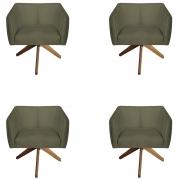 Kit 4 Poltrona Julia Decoração Base Giratória Salão Clinica Cadeira Escritório Recepção D'Classe Decor Suede Marrom Rato