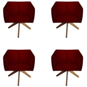 Kit 4 Poltrona Julia Decoração Base Giratória Salão Clinica Cadeira Escritório Recepção D'Classe Decor Suede Marsala