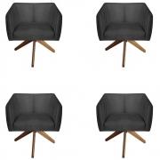 Kit 4 Poltrona Julia Decoração Base Giratória Salão Clinica Cadeira Escritório Recepção D'Classe Decor Suede Preto