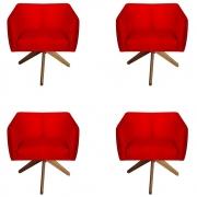 Kit 4 Poltrona Julia Decoração Base Giratória Salão Clinica Cadeira Escritório Recepção D'Classe Decor Suede Vermelho