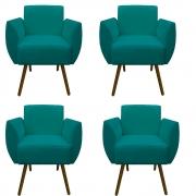 Kit 4 Poltrona Kelly Decoração Clinica Escritório Recepção Sala Estar Quarto Salão D'Classe Decor Suede Azul Tiffany