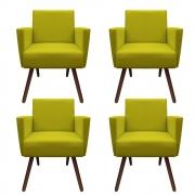 Kit 4 Poltronas Nina Decoração Sala Estar Clinica Recepção Escritório Quarto Cadeira D'Classe Decor Suede Amarelo